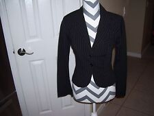 Ladies vintage suit by Wrapper in size 8, black and white stripe, great shape.