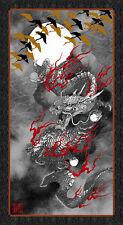 Dragon Moon Black 100% Cotton Quilting Fabric Panel Kona Bay Japanese