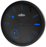 Quartz wall clock - CHERMOND - temperature, metal case, black dial