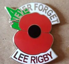 NEVER FORGET LEE RIGBY ENAMEL POPPY BADGE BRITISH OI! BNP NF