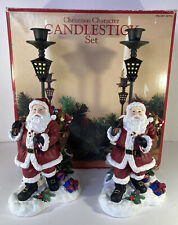 More details for christmas ceramic santa claus pair of candlestick holders