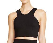 NEW! AQUA Women's Size L Black Knit Double V Back Zip Crop Top Retail $58