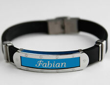 FABIAN - Mens Silicone & Blue Name Plate Engraved Bracelet - Gifts For Him