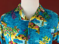 Vintage Blue Hawaiian Aloha Bahamas Shirt  Large Tropical Fashions by Watanmal