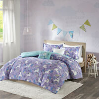 BEAUTIFUL SWEET FUN PURPLE BLUE AQUA TEAL HORSE UNICORN GIRLS SOFT DUVET SET