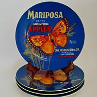 "4 Oneida Vintage Label Salad Plates 8"" Mariposa Fancy Apples Moths"