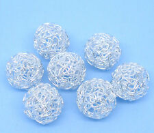 20 Silver Plated Hollow Twist Ball Wire Beads 18mm