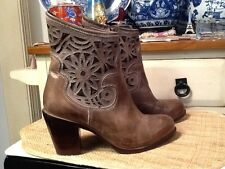 Corral Boots Women's distressed Brown Leather cut out Ankle Boots Size 9.5 M