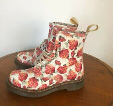 Dr Martens white leather pascal UK5 EU38 floral lace up boots rose print flower