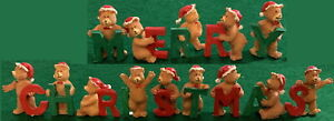 """MERRY CHRISTMAS""  Teddy Bears with Green and Red Letters 1.5"" - 1.75"" Tall NEW!"