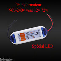 TRANSFORMATEUR 6.3A 12V 72W LED Driver Power Supply AC 90-220V vers Dc 12 volts