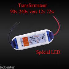 TRANSFORMATEUR 6.3A 12V 72W LED Driver Power Supply AC 90-220V vers Dc 12 volts