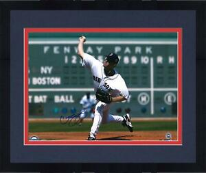 """Framed Curt Schilling Boston Red Sox Autographed 16"""" x 20"""" Pitching Photograph"""