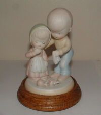Vintage Tripple Figurine Boy Comforts Girl-Really Cute-