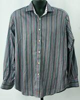 Thomas Dean Multi Stripe Sport Shirt sz Large Long Sleeve Button Down Flip Cuffs