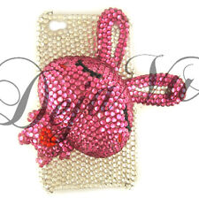 CRYSTAL BLING RHINESTONE 3D WHITE PINK RABBIT BUNNY COVER CASE IPHONE 4 4S