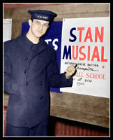 Stan Musial In The Navy Photo 8X10 - WWII 1945 St. Louis Cardinals COLORIZED