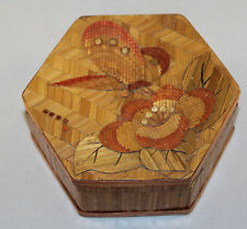 Vintage Chinese Bamboo / Straw Work Trinket Box With Exquisite Butterfly Motif
