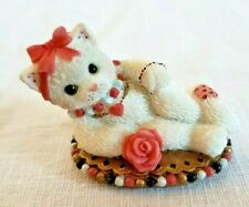 Calico Kittens collectible figurine miniature Enesco cat with pink rose bow cute
