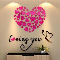 3D Heart Mirror Wall Stickers Wedding Party Bedroom Decor Art Vinyl Decal UKSHIP