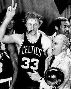 Boston Celtics LARRY BIRD and RED AUERBACH Glossy 8x10 Photo NBA Champs Poster
