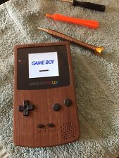 Backlit IPS Wood Grain Gameboy Color Nintendo GBC Glass Lens Rocket Power Cart