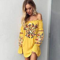 Womens Retro Boho Floral Embroidered Dress Off-Shoulder Boho Mini Beach SunDress
