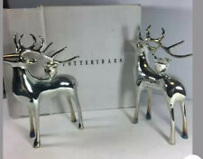 Pottery Barn Set Of 3 Silver Plated Reindeer Taper Candle Holders