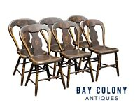 19TH C ANTIQUE COUNTRY PRIMITIVE SET OF 6 FANCY PAINT HOOP BACK WINDSOR CHAIRS