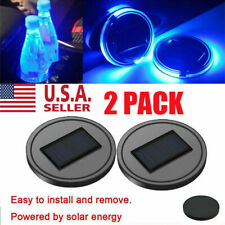 2X Solar LED Cup Pad Car Accessories Light Cover Interior Decoration Lights US