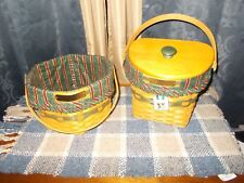 2 Longaberger Christmas Collection 1997 & 1998 Green Baskets Combo