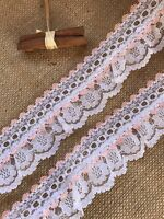 White/Peach Gathered Lace Double with Eyelet 2.5 inch/6.5 cm