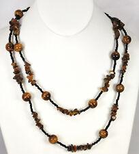 "Ny6Design Natural Gold Tigereye & Black Seedbeads Silver Toggle Long Necklace45"""
