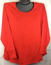 Cacique Lane Bryant RED Soft Cotton Comfortable Long Sleeve Plus Sleep Top Shirt