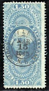 USA Revenue Stamp $1.50 Blue WASHINGTON Used 1865 CDS {samwells-covers}G2WHITE99