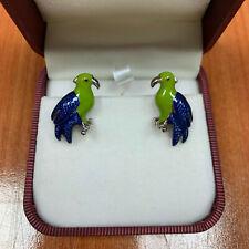 Men's Blue & Green Color Cufflinks Parrot Shape