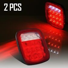 2x Universal 16LED Stop Tail Turn Signal Backup Clearance Marker Light Red/White