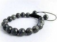 Men's Shambhala bracelet all 10mm Black Gray Labradorite stone beads
