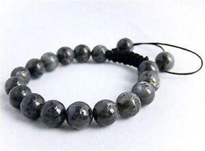Men's Shambhala bracelet all 10mm Black Gray Labradorite stone beads