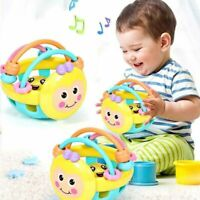 Baby Knocking Rattle Hand Bell Toy Cartoon Bee Soft Rubber for Early Educational