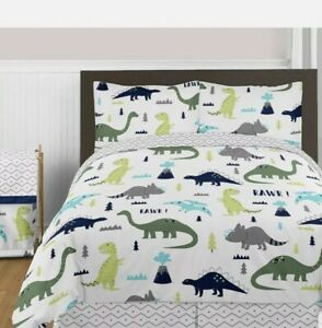 Sweet Jojo Navy Grey White Lime Green Dinosaurs Girls Boys Full Bedding Set, EUC