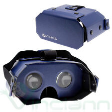Custodia universale per occhiali VR glass virtuale realtà visore Pelle NAVY BLUE