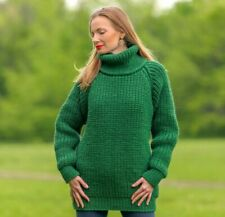 Green wool sweater ribbed turtleneck hand knitted warm thick pullover SuperTanya