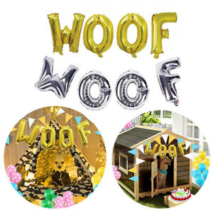 WOOF Letter Balloon Gold Sliver Foil Balloon Pet Dog Birthday Theme Decoration