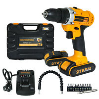 21-Volt Max Batteries drill 2 Speed Electric Cordless Drill/Driver with Bits Set