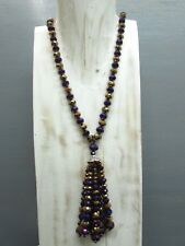 """34"""" Crystal Knotted Necklace Rondelle Beads and Tassel with Free Earrings"""