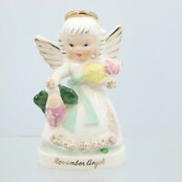 November Birthday Angel Figurine Fruit Foil Napco Japan Sticker A1371