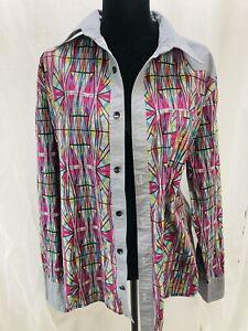 Long Sleeve button up Funky geometric print shirt Unisex Adult