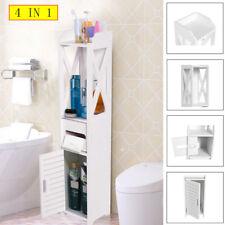 4 IN 1 WOOD BATHROOM CABINET SHELF STORAGE FREE STANDING WALL CUPBOARD STAND UK