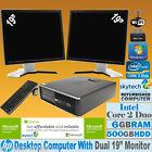 "HP COMPUTER CORE 2 DUO 2X 19"" TFT MULTI SCREEN FULL SET CHEAP PC FAST WIN7 Wi-Fi"